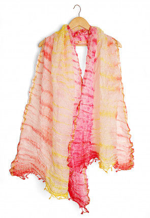 Shibori Pure Kota Silk Dupatta in Multicolor