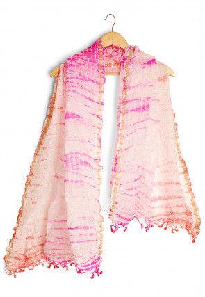 Shibori Pure Kota Silk Dupatta in Pink and Off White