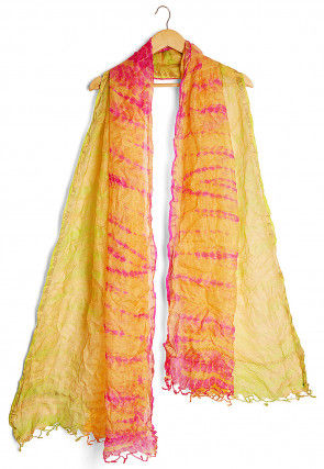 Shibori Pure Kota Silk Dupatta in Yellow