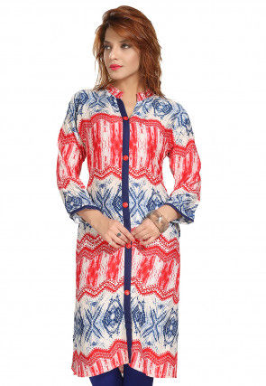 Shibori Rayon Kurta in Multicolor