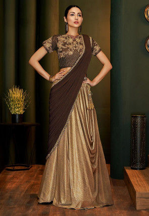 Shimmer Lycra Lehenga in Golden