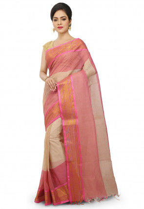 Handloom Cotton Tant Saree in Light Beige and Pink