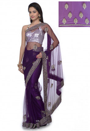 Stone Embroidered Net Saree in Purple