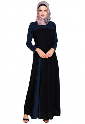 Side Pleated Nida Closed Abaya in Black and Dark Blue