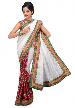 Half N Half Bhagalpuri Silk Saree in White and Maroon