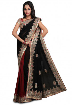 Half N Half Georgette Saree in Black and Maroon