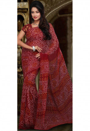 Printed Georgette Saree in Red