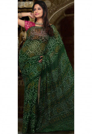 Printed Pure Georgette Saree in Dark Green
