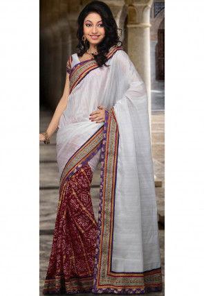 Half N Half Art Silk Saree in White and Red