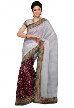 Half N Half Matka Silk Saree in White and Magenta