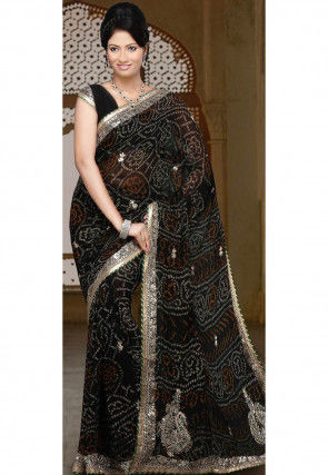 Embroidered Pure Chiffon Saree in Black