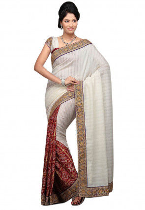 Half N Half Art Silk Saree in Off White and Maroon