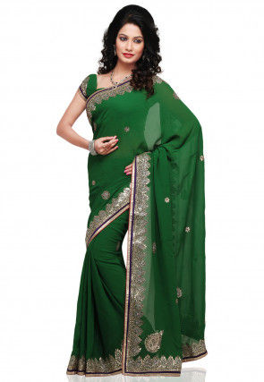 Gota Work Georgette Saree in Green
