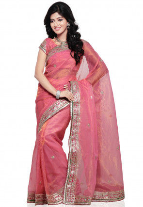 Embroidered Pure Kota Tissue Saree in Pink