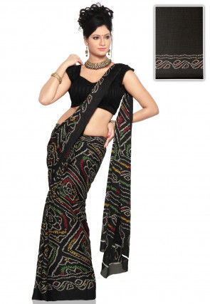 Bandhej Printed Crepe Saree in Black
