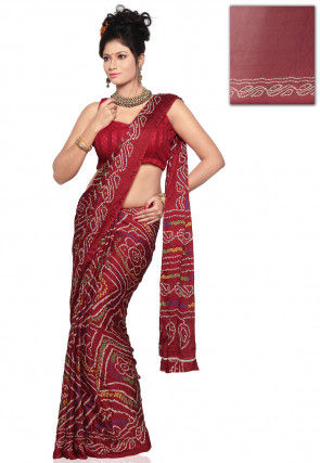 Bandhej Printed Crepe Saree in Maroon