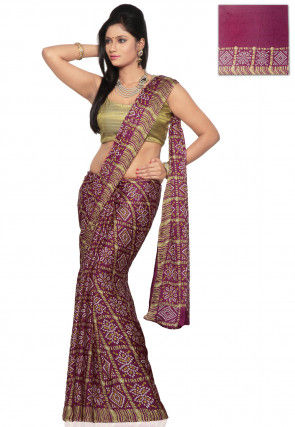 Bandhej Printed Crepe Saree in Magenta
