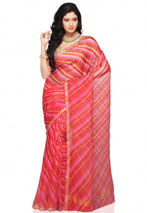 Leheriya Printed Pure Kota Silk Saree in Multicolor