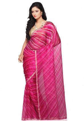Lehariya Printed Pure Kota Silk in Fuchsia