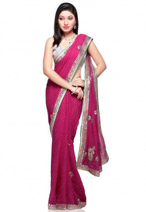 Leheriya Georgette Saree in Fuchsia