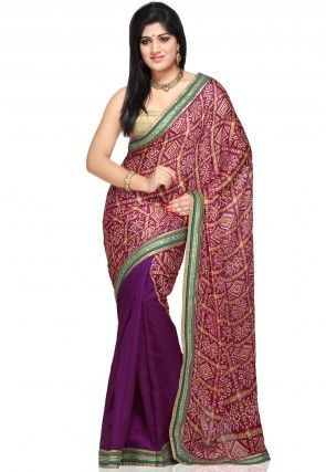 Half N Half Bandhej Crepe Saree in Magenta and Purple