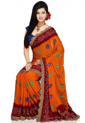 Tie N Dye Crepe Saree in Orange