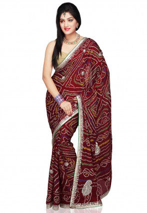 Embroidered Crepe Saree in Maroon