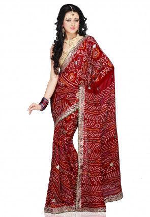 Bandhani Sarees Bandhej Silk Sarees Online Shopping