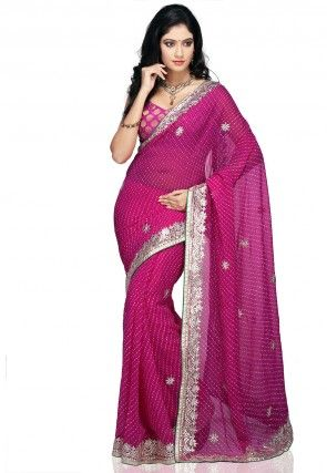 Gota Patti Georgette Saree in Fuchsia