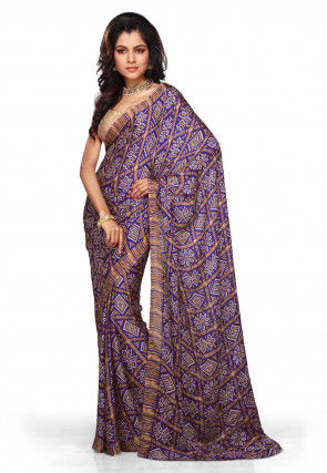 Bandhani Crepe Saree in Purple