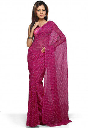 Leheryia Georgette Saree in Magenta