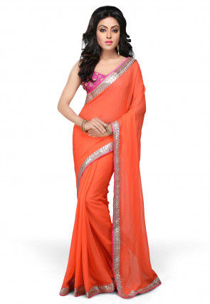 Patch Border Georgette Saree in Orange