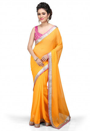 Patch Border Georgette Saree in Mustard