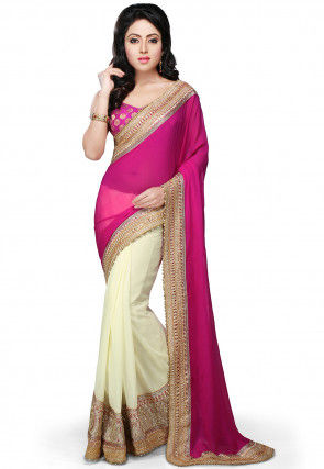 Half N Half Georgette Saree in Fuchsia and Off White