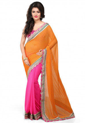 Printed Half N Half Georgette Saree in Mustard and Fuchsia