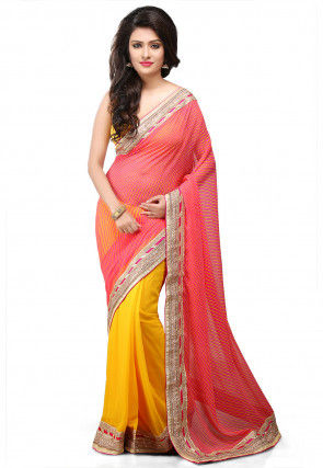 Printed Half N Half Georgette Saree in Fuchsia and Yellow