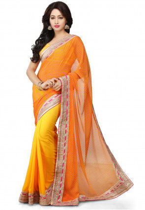 Printed Half N Half Georgette Saree in Mustard