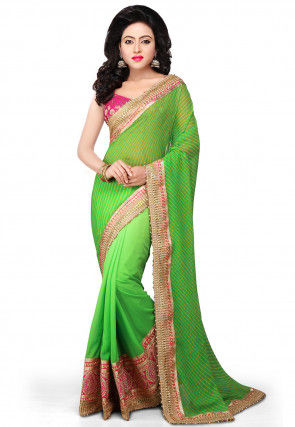 Half N Half Georgette Saree in Green