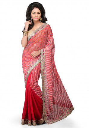 Half N Half Georgette Saree in Red