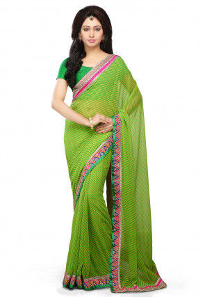 Lehariya Printed Georgette Saree in Green