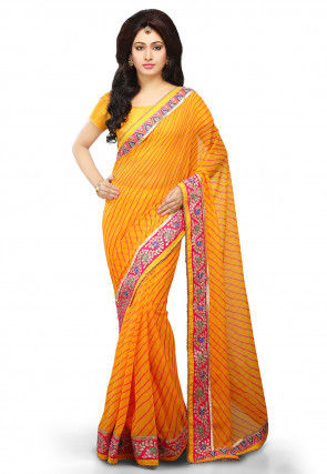 Lehariya Printed Georgette Saree in Mustard