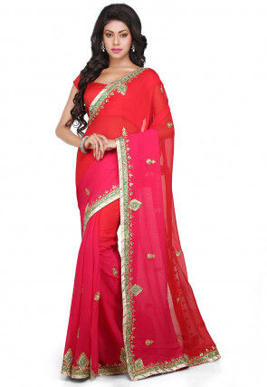 Ombre Georgette Saree in Red and Fuchsia