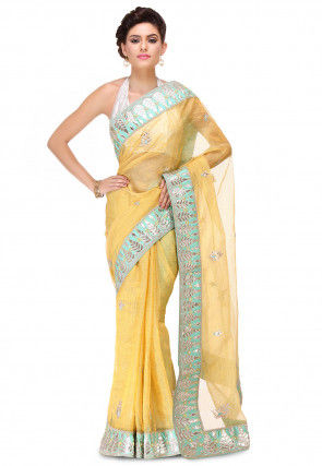 Hand Embroidered Pure Kota Tissue Saree in Yellow