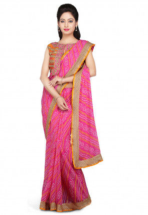 Bandhej Printed Georgette Saree in Pink