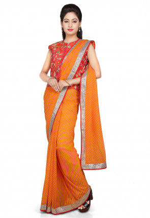 Leheriya Printed Georgette Saree in Mustard