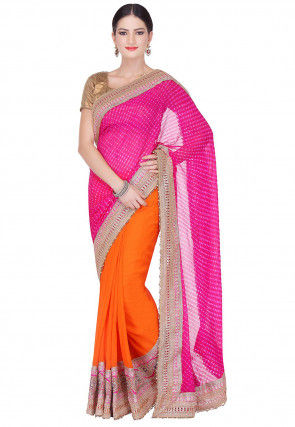 Half N Half Pure Georgette Lehariya Saree in Fuchsia and Orange