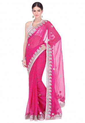 Embroidered Border Georgette Lehariya Saree in Fuchsia