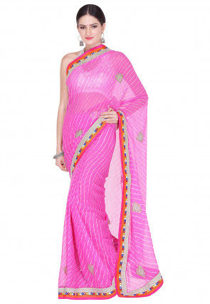 Lehariya Printed Georgette Saree in Pink
