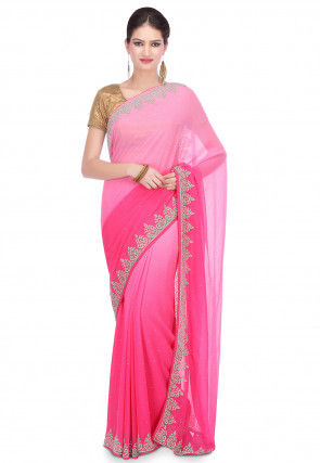 Hand Embroidered Chiffon Saree in Ombre Pink