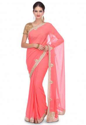 Hand Embroidered Georgette Saree in Peach